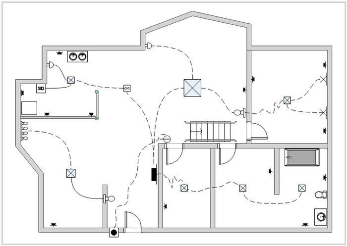 طرح ساده ای از نقشه سیم کشی ساختمان فرضی