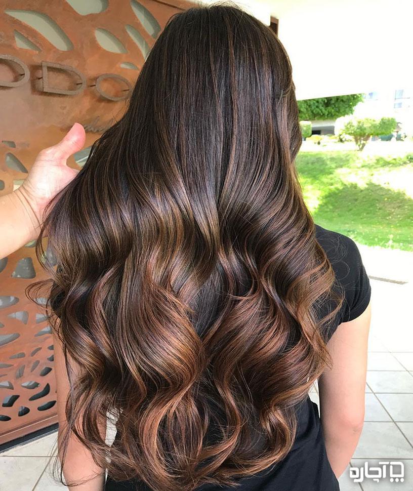 هایلایت مو روی مو تیره - با پایه مو قهوه اي و مشکی